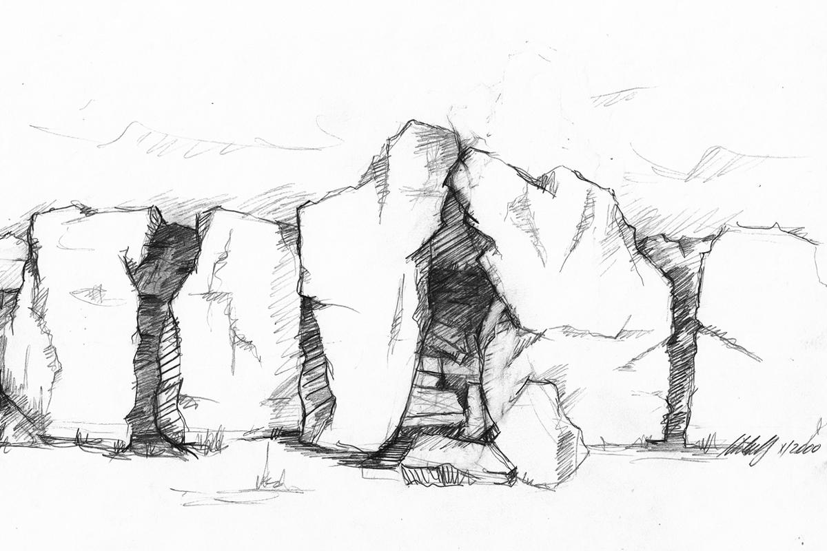 Entwurfsskizze Felsenlandschaft 2000